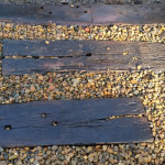 Recycled Railway Sleepers and River Pebble