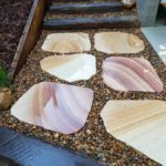 Sandstone Steppers and Recycled Railway Sleepers